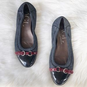 AGL cap toe checkered leather ballet flats gray